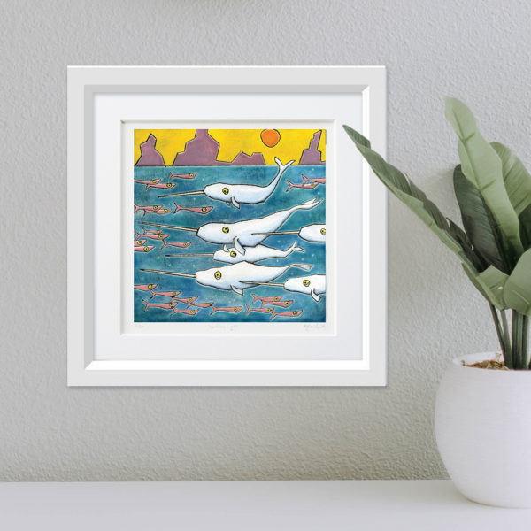 A Blessing of Narwhals framed