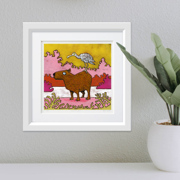 Capybara and Spoonbill