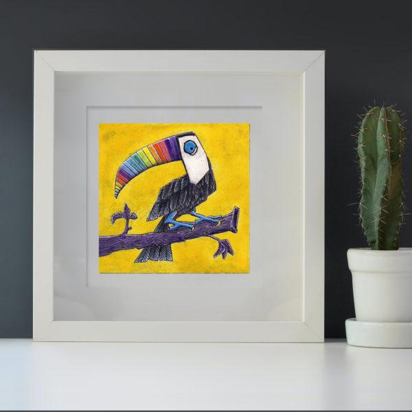 Rainbow Toucan mini framed